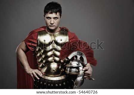 Portrait of a roman legionary soldier - stock photo