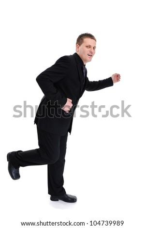 Portrait of a running businessman isolated over white background