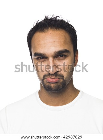 Portrait of a sad man isolated on a white background