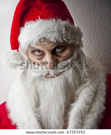 portrait of a scary looking santa claus #67391992