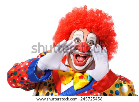 Photo of  Portrait of a screaming clown isolated on white background