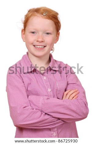 Portrait of a self confident red haired girl on white background