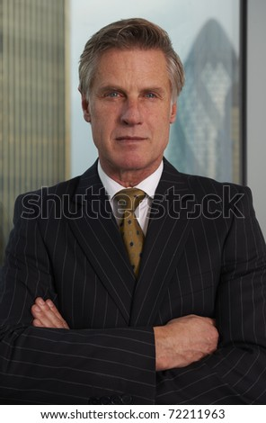 Portrait of a senior executive by a window looking at camera - stock photo