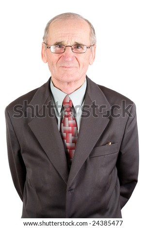 Portrait of a senior man in suit, isolated over white background