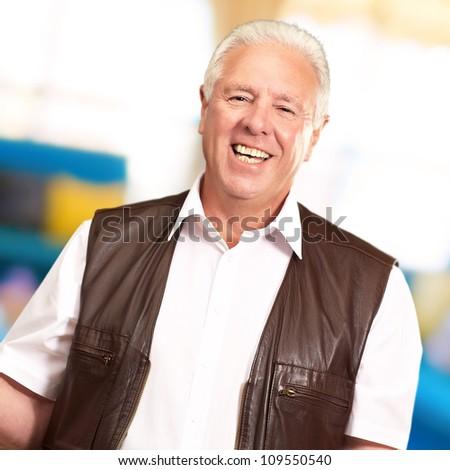 Portrait Of A Senior Man Presenting, Indoor