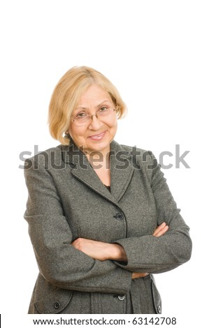 Portrait of a senior woman standing confidently isolated on white background