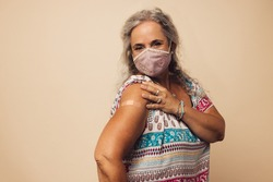 Portrait of a senior woman with protective face mask showing her arm with bandage after getting vaccine. Mature woman sitting against brown background after receiving corona virus vaccination.