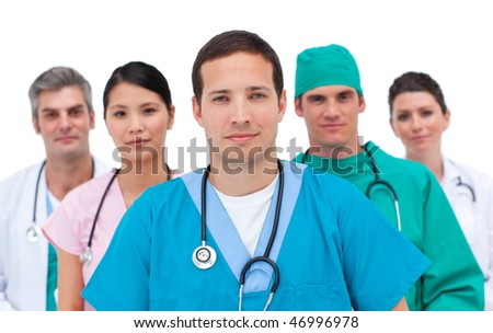 Portrait of a serious medical team against a white background