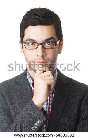 Portrait of a serious young man in costume and glasses. Isolated on white background.