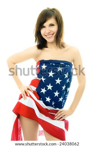 portrait of a sexy beautiful nude woman wrapped into the American flag