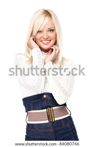 Portrait of a sexy young blond woman wearing casual clothes