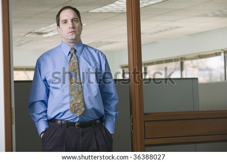 Portrait of a single businessman standing in an office