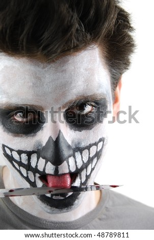 portrait of a skeleton guy as a murderer concept (isolated on white background)