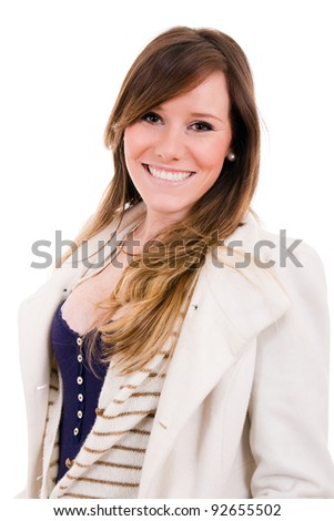 Portrait of a smiling beautiful young woman on white background