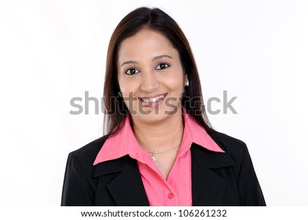 Portrait of a Smiling business woman against white background