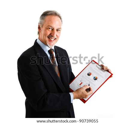 Portrait of a smiling businessman showing a business plan