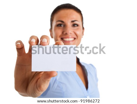 Portrait of a smiling businesswoman showing a blank business card