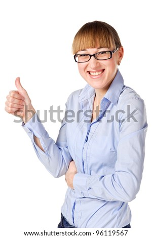 portrait of a smiling Businesswoman shows thumb up. Isolated over white