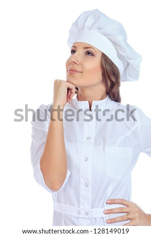 Portrait of a smiling cook woman. Isolated over white background.