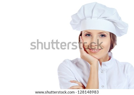 Portrait of a smiling cook woman looking at camera. Isolated over white background.