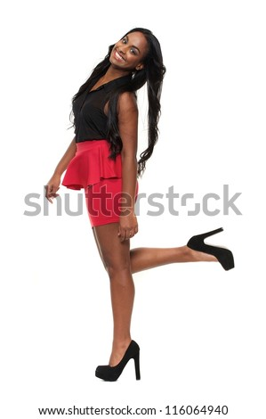Portrait of a smiling fashion girl in isolated on white background