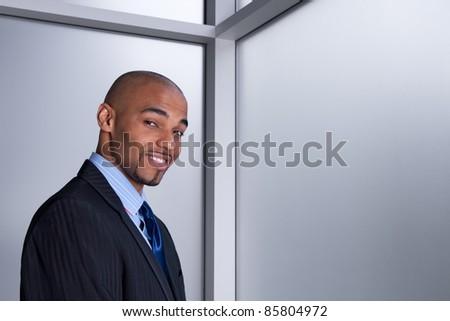 Portrait of a smiling good-looking businessman beside an office window.
