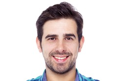 Portrait of a smiling man, isolated on a white background