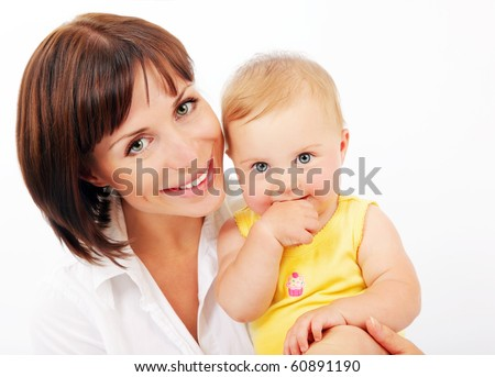 Portrait of a smiling mother & baby isolated over white background