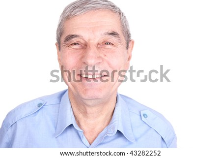 Portrait of a smiling senior man isolated on white #43282252