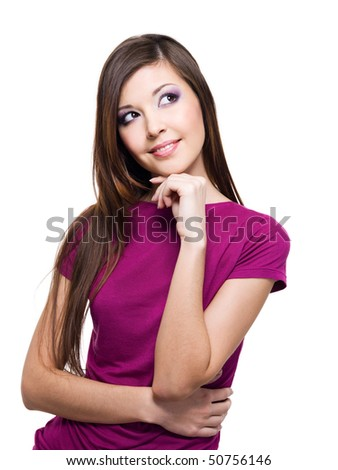 Portrait of a smiling thinking woman looking up - isolated on white #50756146