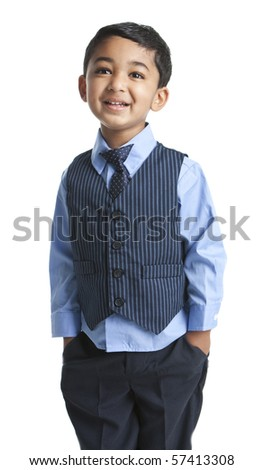 Portrait of a Smiling Toddler in Business Attire