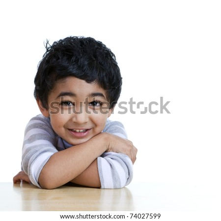 Portrait of a Smiling Toddler, Isolated, White