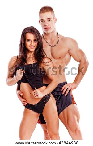 Portrait of a smiling young fitness couple