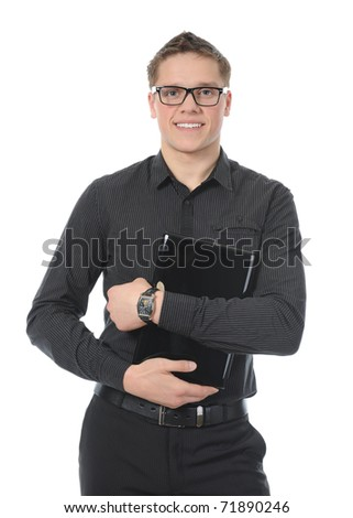 portrait of a smiling young man with laptop. Isolated on white background