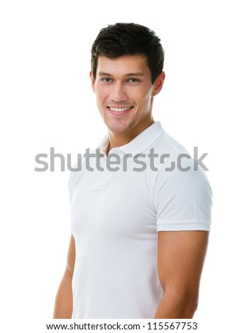 Portrait of a sportive man in white T-shirt, isolated on white