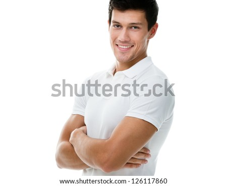 Portrait of a sportive man with arms crossed in white T-shirt, isolated on white