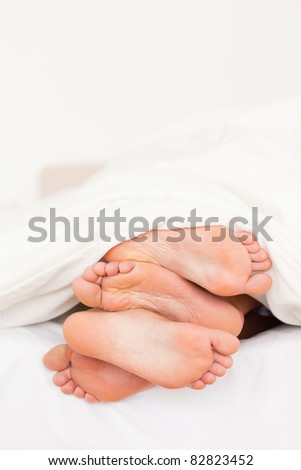 Portrait of a stack of feet in a bed