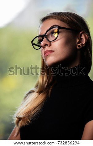 Portrait of a strict businesswoman or female teacher. #732856294