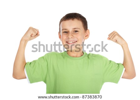 Portrait of a strong child showing off