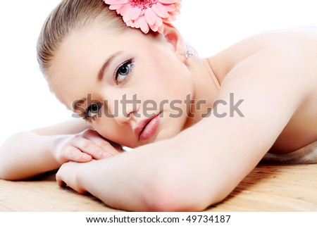Portrait of a styled professional model. Theme: healthcare, beauty, fashion