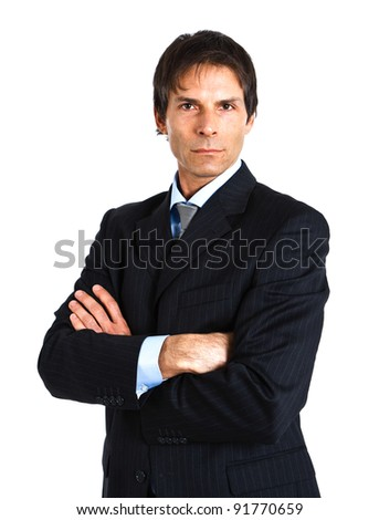 Portrait of a successful handsome businessman isolated on white