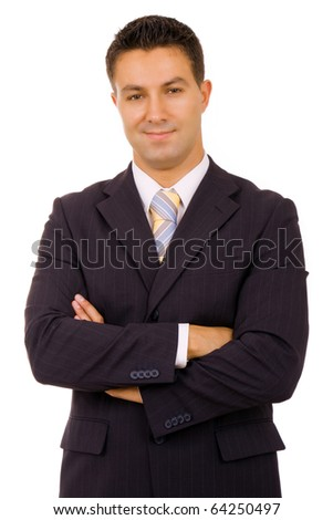 Portrait of a successful young businessman. Isolated on white - stock photo