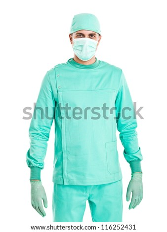 Portrait of a surgeon. Isolated on white