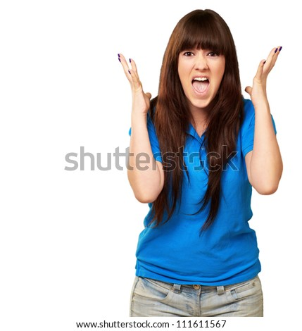 portrait of a teenager screaming and angry on white background