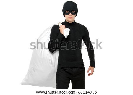 Portrait of a thief holding a bag isolated against white background