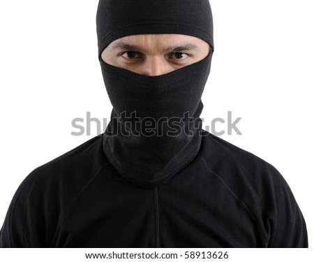 Portrait of a thief isolated on white background.