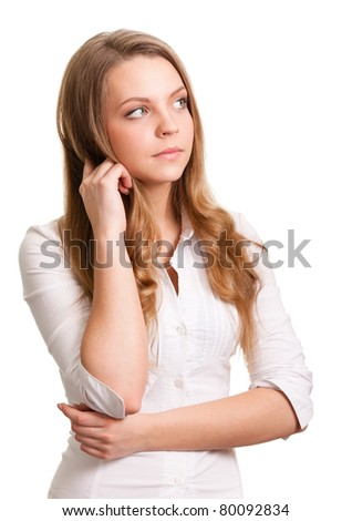 Portrait of a thinking woman looking on copyspace