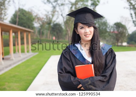 Portrait of a thoughtful graduation student - stock photo
