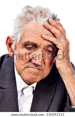 Portrait of a thoughtful old man isolated on white background