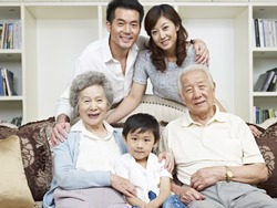 portrait of a three-generation asian family.